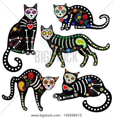 Set of calavera sugar skull black cats in mexican style for holiday the Day of the Dead, Dia de Muertos