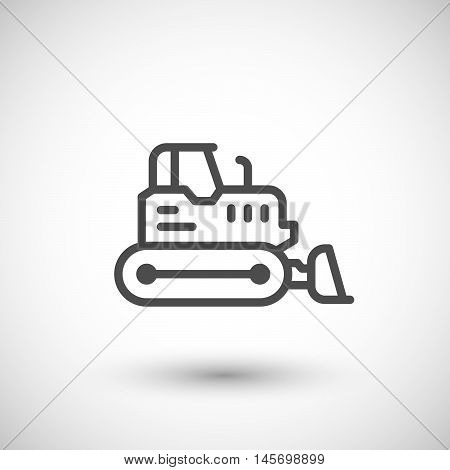 Crawler bulldozer line icon isolated on grey. Vector illustration