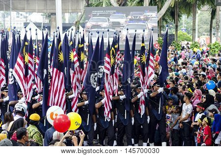Kuala Lumpur August 31 2016 joyous celebration of Independence Day in celebrating excited by all Malaysians to attend the rally and parade at Dataran Merdeka Kuala Lumpur. The parade goes past by various agencies and contingents were among the attendees w