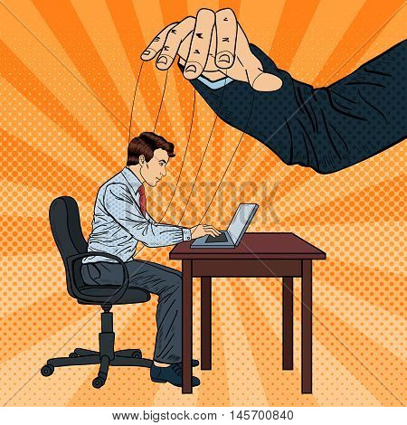 Puppeteer Controlling Business Man at Office Work. Pop Art Vector illustration