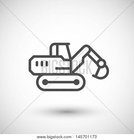 Crawler excavator line icon isolated on grey. Vector illustration