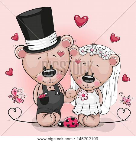 Greeting card Teddy Bride and Teddy groom on a pink background