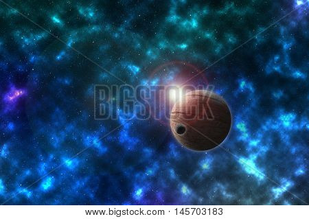 unknowed imaginary planet with the satellite in a beautiful space, Elements of this image furnished by NASA