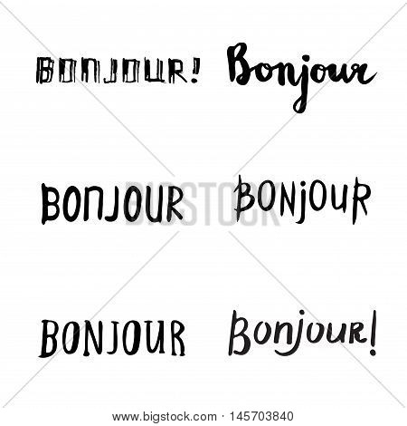 Hand Drawn Bonjour Phrases.