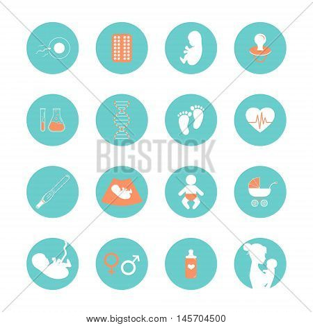 Pregnancy and newborn baby icons set. Pregnancy and birth infographics element. Medicine and pregnancy vector icons set. Baby care mother birth illustration.