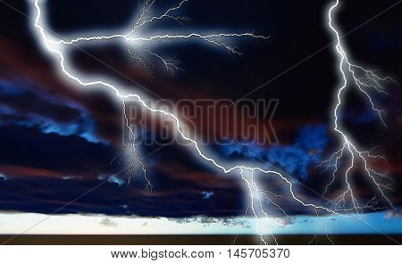 Night cloudscape with strong lightning 3d rendering