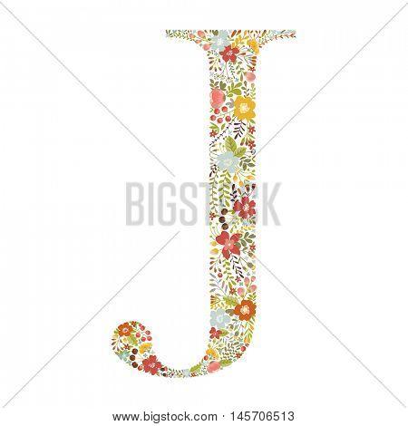 J letter with decorative floral ornament