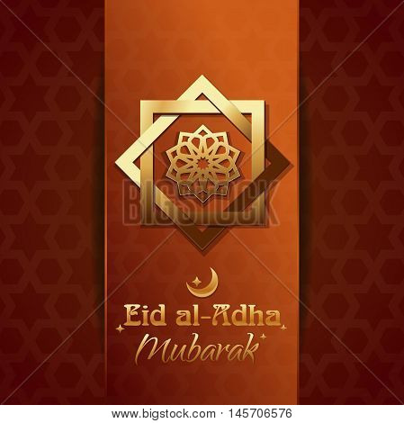 Islamic design with lettering - Eid al-Adha Mubarak. Eid al-Adha - Festival of the Sacrifice also called the 'Sacrifice Feast' or 'Bakr-Eid'