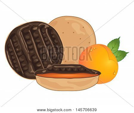 an illustration of sweet chocolate orange biscuits with a half section and a small orange fruit and foliage on a white background