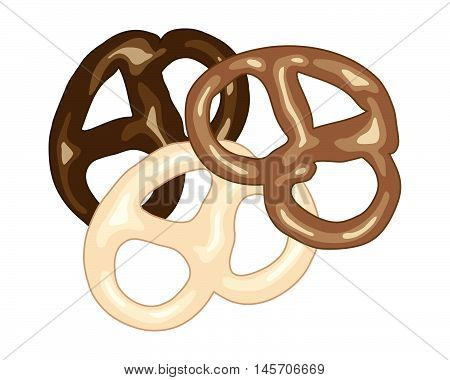 an illustration of dark milk and white chocolate covered pretzel snacks on a white background in advert format