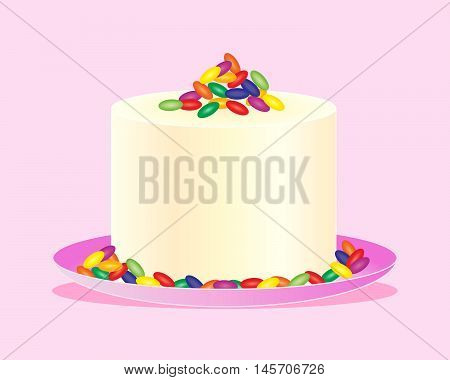 an illustration of a fancy celebration cake with cream frosting decorated with colorful jelly beans on a light pink background