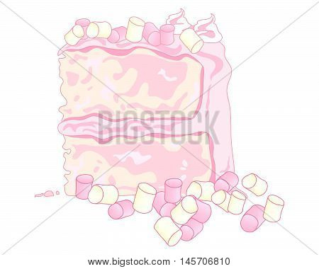 an illustration of a sponge cake with pink butter cream and marshmallow decoration on a white background