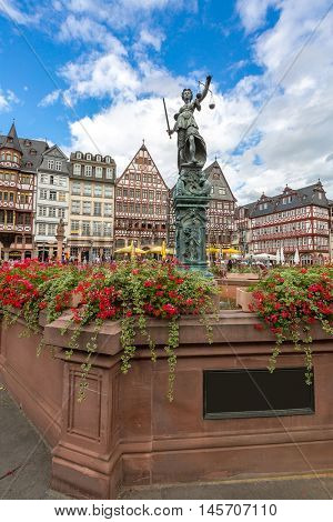 Frankfurt old town with the Justitia statue. Germany