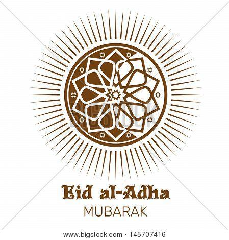 Eid al-Adha - Festival of the Sacrifice. Eid al-Adha Mubarak. Islamic design. Illustration isolated on white background