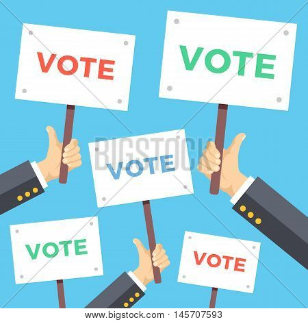 Many hands with vote placards. Political campaign, elections concept. Modern flat design vector illustration