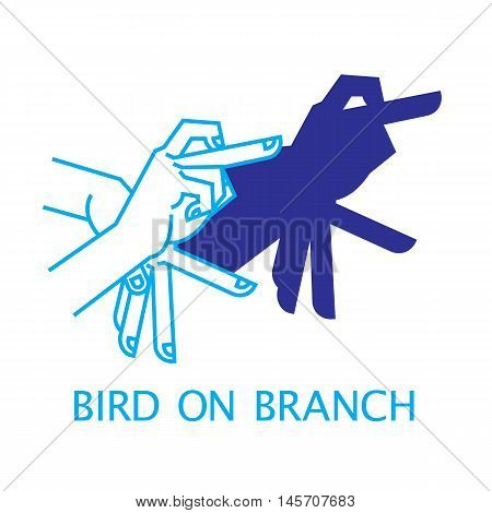 Shadow Hand Puppet Bird on Branch. Vector Illustration of Shadow Hand Puppet Isolated on a White Background. Shadow Theatre or Shadow Play. Icon of Shadow Hand Puppet Bird on Branch in Mix Style.