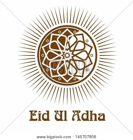 Eid al-Adha - Festival of the Sacrifice. Icon and lettering - Eid-Ul-Adha. Illustration isolated on white background