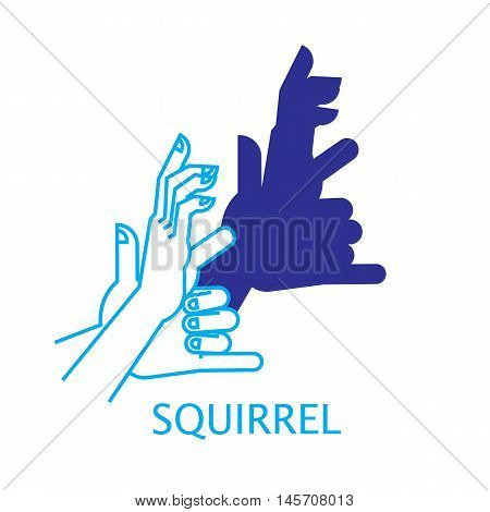 Shadow Hand Puppet Squirrel. Vector Illustration of Shadow Hand Puppet Isolated on a White Background. Shadow Theatre or Shadow Play. Icon of Shadow Hand Puppet Squirrel in Mix Style.