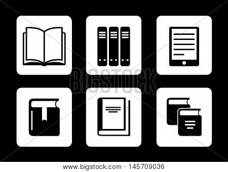 set of book icons on black background