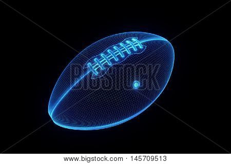 Football in Hologram Wireframe Style. Nice 3D Rendering