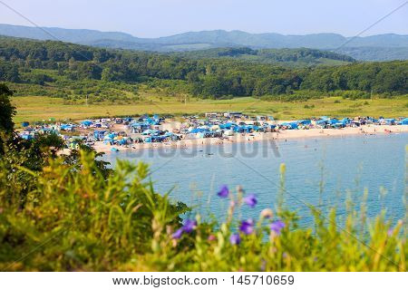 Livadiya RUSSIA - AUGUST 05 2016: Campings on the beach in the south of Primorsky region