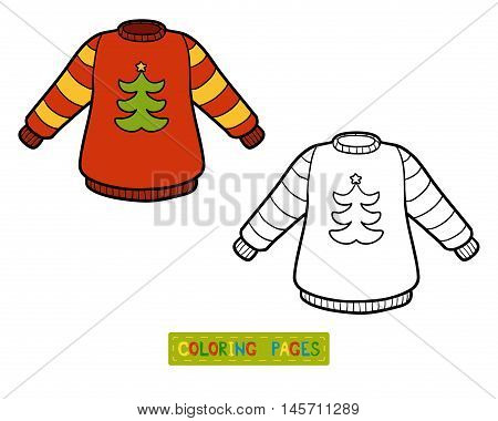 Coloring book for children, Pullover with Christmas tree