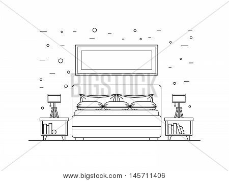 the interior of bedroom with bed, mattress and pillows, painted in a linear, outlie style.