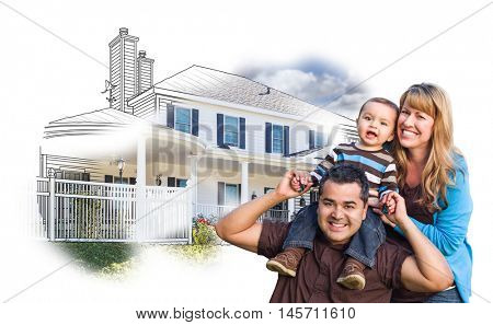 Happy Mixed Race Family Over House Drawing and Photo Combination on White.