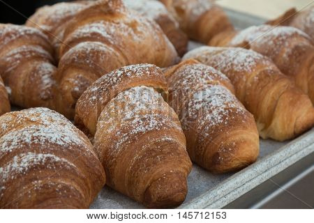 Fresh Croissants With Powdered Sugar