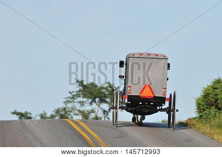 Back view of Amish horse and buggy climbing on hill