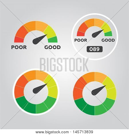 Credit score indicators and gauges vector flat