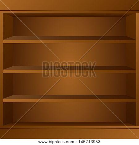 Wooden book shelf. Book shelf vector illustraton