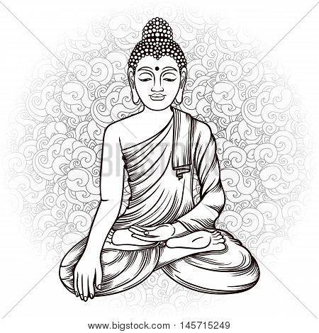 Buddha Gautama With Doodle Background Vector Illustration. Vintage Decorative Zentangle Hand Drawing