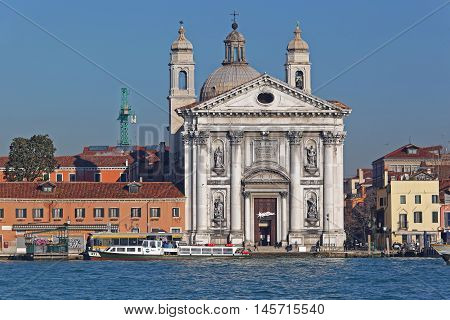 VENICE ITALY - DECEMBER 19: Santa Maria del Rosario Church in Venice on DECEMBER 19 2012. St Mary of the Rosary Gesuati Dominican Church at Giudecca Canal in Venice Italy.