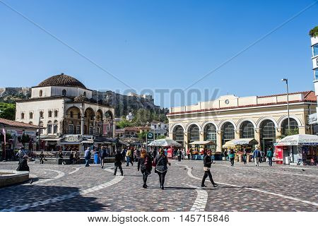 ATHENS GREECE - APRIL 26 2016:view of Monastiraki square in Athens with crowd