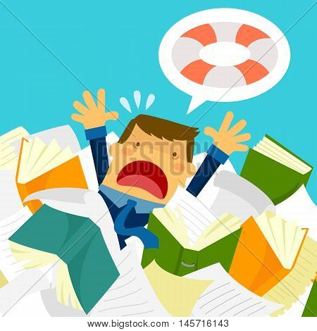 cartoon stressed worker drowning in papers and folders