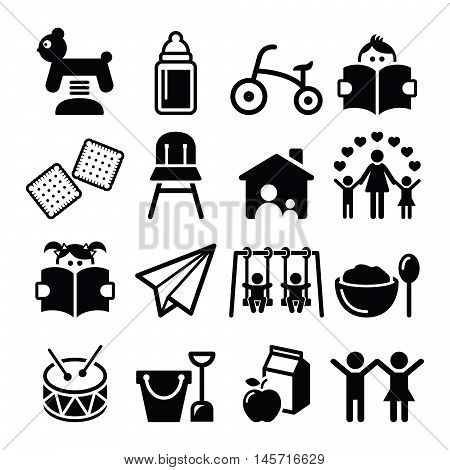 Baby or toddler in nursery or day care icons set