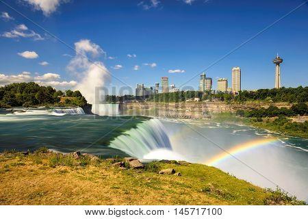 Spectacular rainbow at Niagara Falls. Long exposure.