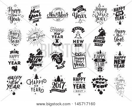 Happy New Year typographic emblems set. Vector logo design. Black and white. Usable for banners, greeting cards, gifts etc.