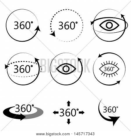 360 degrees full angle view icons. Monochrome simple icon set. Virtual panoramic tour signs.