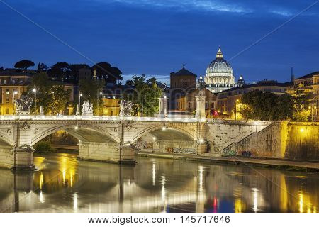 Famous view of Rome by night Italy