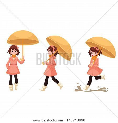 Little girl in a raincoat with umbrella standing, walking and running in the rain, cartoon style vector illustration isolated on white background. Kid enjoying rainy weather