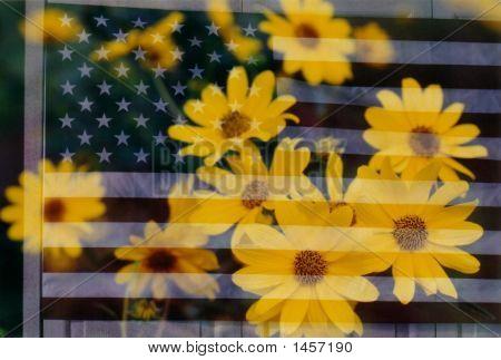 Flagge und Blumen