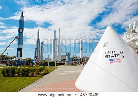 KENNEDY SPACE CENTER, FLORIDA, USA - APRIL 21, 2016: Several rockets are exhibited in rocket garden in the visitor complex of Kennedy Space Center near Cape Canaveral in Florida