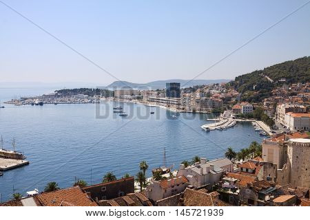 Split cityscape with the Adriatic Sea. Split is situated on the eastern shores of the Adriatic Sea centred around the ancient Roman Palace of the Emperor Diocletian.