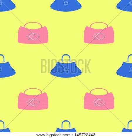 Seamless Womens Handbag Pattern on Yellow Background.