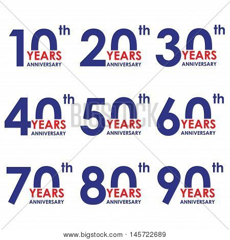 Anniversary icon set. Anniversary symbols isolated on white background. 10,20,30,40,50,60,70,80,90 years. Template for cards and congratulation design.