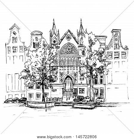 Color hand drawing, city view of Amsterdam typical houses, canal and church, Holland, Netherlands. Picture made liner