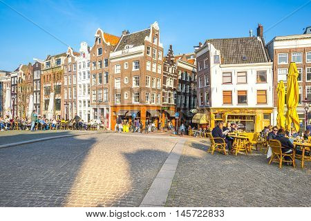 The Torensluis Square Along The Singel Canal In Amsterdam, Netherlands.