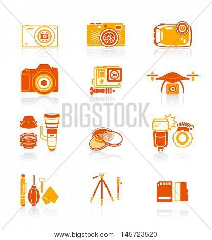 Digital camera and camera accessories red-orange icon-set